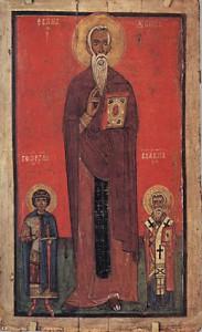 Свв. Иоанн Лествичник, Георгий и Власий. XIII в. Государственный Русский музей, Санкт-Петербург
