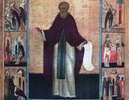 Икона Сергий Радонежский, с житием Мастерская Феодосия. Первая треть XVI в.