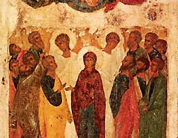 Вознесение Господне. икона прп. Андрея Рублева, Государственная Третьяковская Галерея