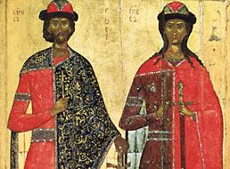 Святые благоверные князья Борис и Глеб. XIV в. Русский музей